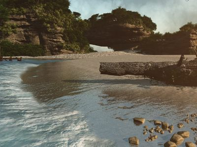 Lost Island, a beautiful beach scene but a lot of work - made with C4D.