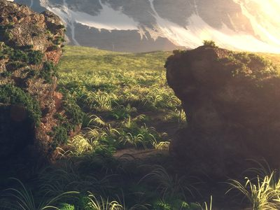 Photorealistic Grass, Rocks, Mountains and Weather Sunlightsetup - made with C4D.