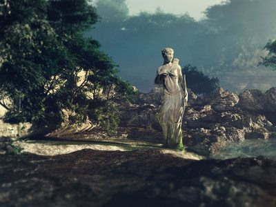 Greek Statue on the Hillside - because the greek history is a nice reader - made with C4D.